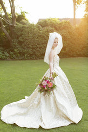 Royal-inspired Embroidery Wedding Dresses  with Satin Skirt