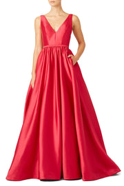 Satin Long Red Formal Dress Evening Gowns with Pockets