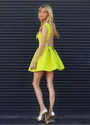 satin-neon-yellow-homecoming-dresses-with-belt-3
