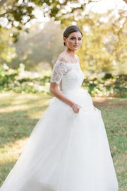 scalloped-lace-off-the-shoulder-wedding-gown-dress-with-tulle-skirt-1