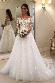 see-through-long-sleeves-lace-dress-wedding-tulle-skirt