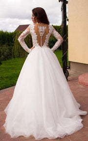 sheer-lace-sleeves-bridal-dresses-with-deep-plunging-2