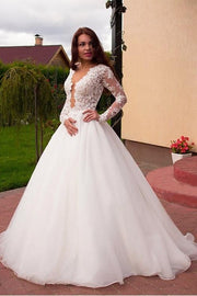 sheer-lace-sleeves-bridal-dresses-with-deep-plunging