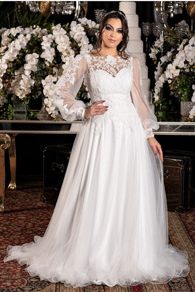 sheer-long-sleeve-lace-wedding-dress-with-tulle-skirt