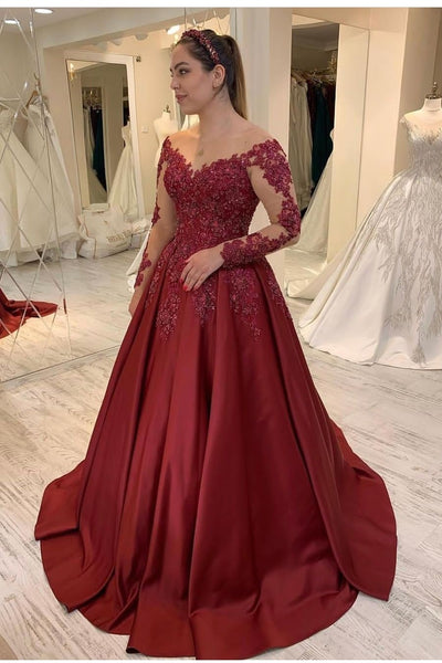 sheer-neck-long-sleeves-evening-dresses-with-satin-skirt