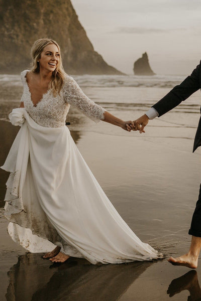 sheer-neckline-half-sleeves-bridal-dresses-for-beach-weddings
