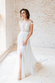 sheer-neckline-summer-wedding-dresses-with-chiffon-skirt