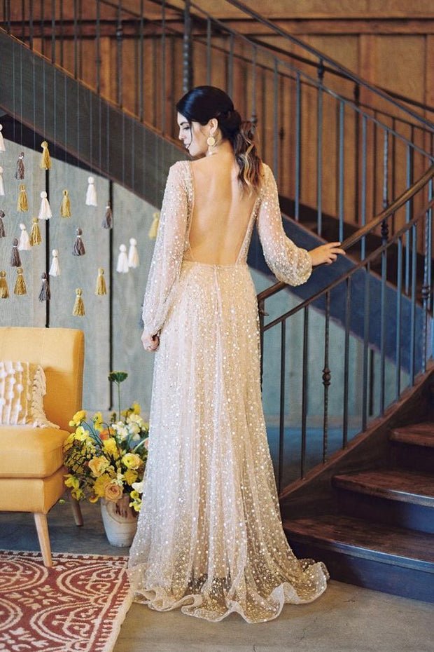 sheer-sleeves-sequin-bridal-gowns-with-v-neckline-1