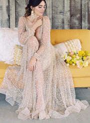 sheer-sleeves-sequin-bridal-gowns-with-v-neckline