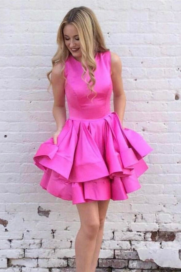 short-hot-pink-homecoming-dresses-for-sale-sleeveless-tiered-skirt-1