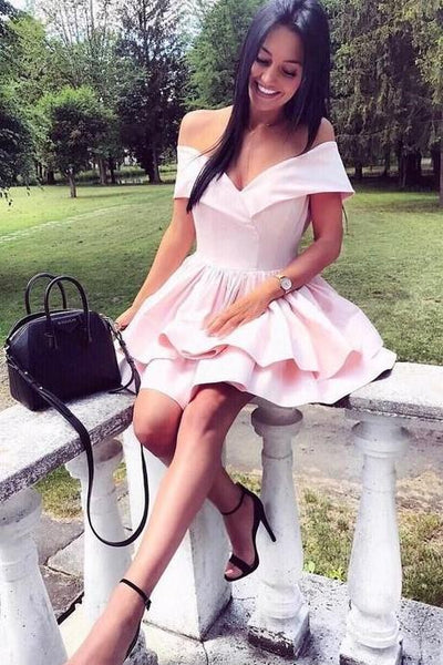 short-light-pink-homecoming-dress-with-layer-skirt