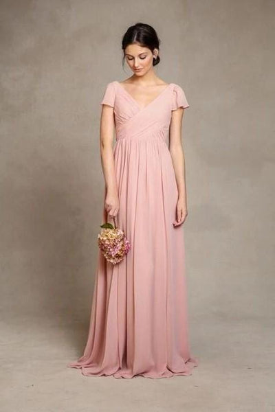 short-sleeves-pink-chiffon-bridesmaid-dress-v-neckline