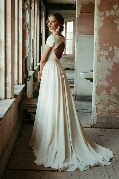 simple-a-line-bridal-dress-with-short-sleeves-1