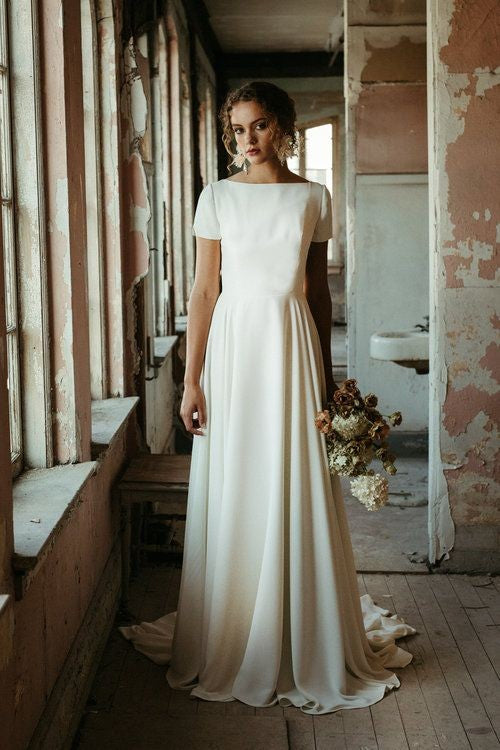 simple-a-line-bridal-dress-with-short-sleeves