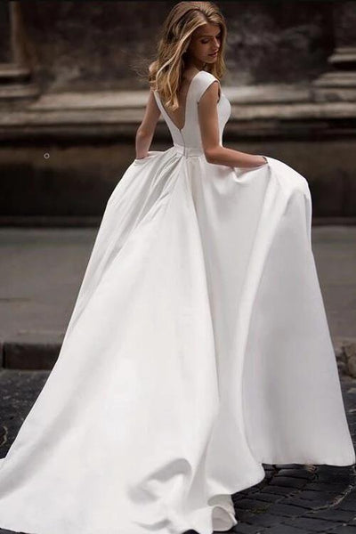 simple-long-satin-a-line-wedding-dresses-with-pockets