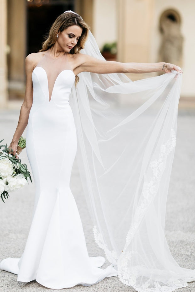 simple-satin-fit-flare-bridal-gowns-with-illusion-neck