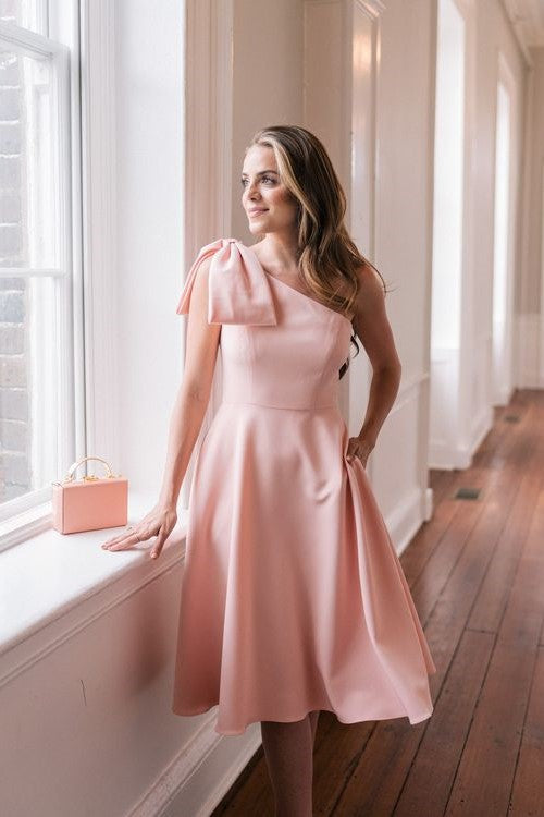 single-shoulder-bridesmaid-dress-pink-bow-sash-1