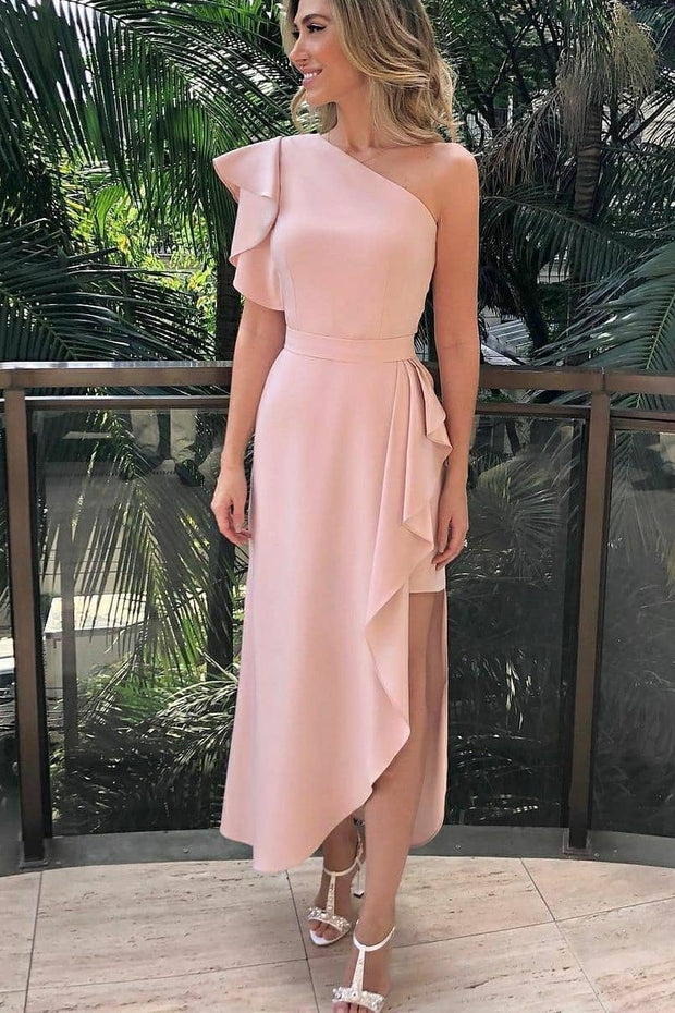 single-shoulder-ruffles-pink-dress-for-prom