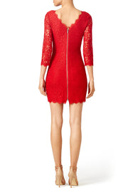 slim-mini-cocktail-dress-red-lace-3-4-sleeves-1
