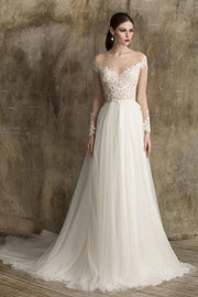 soft-a-line-tulle-bridal-gown-with-sheer-lace-sleeves