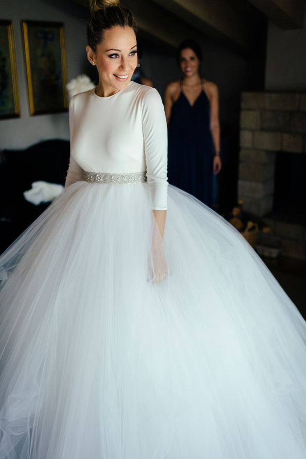 spandex-34-sleeves-ball-gown-wedding-dresses-with-rhinestones-belt
