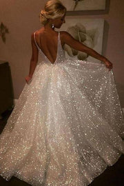sparkling-sequin-wedding-dresses-with-v-neckline