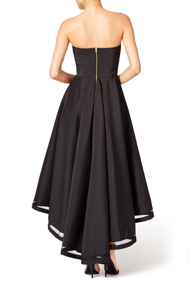 Strapless Black Hi-Lo Prom Dresses with Open Back
