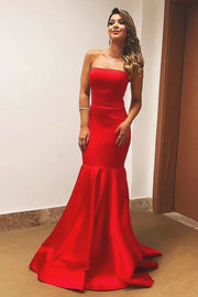 strapless-satin-red-evening-dresses-with-mermaid-skirt
