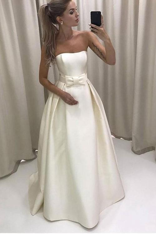 strapless-satin-simple-bride-dress-with-bow-sash