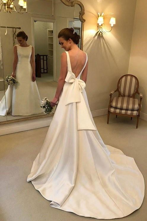 structured-satin-wedding-dresses-with-bow-ribbon-sash-back-1