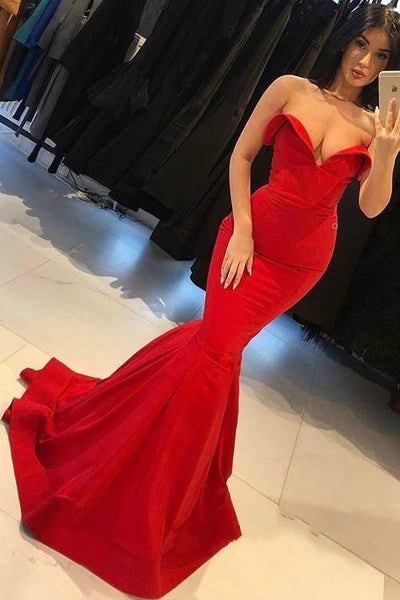 stylish-sweetheart-red-mermaid-prom-dresses-with-sweep-train