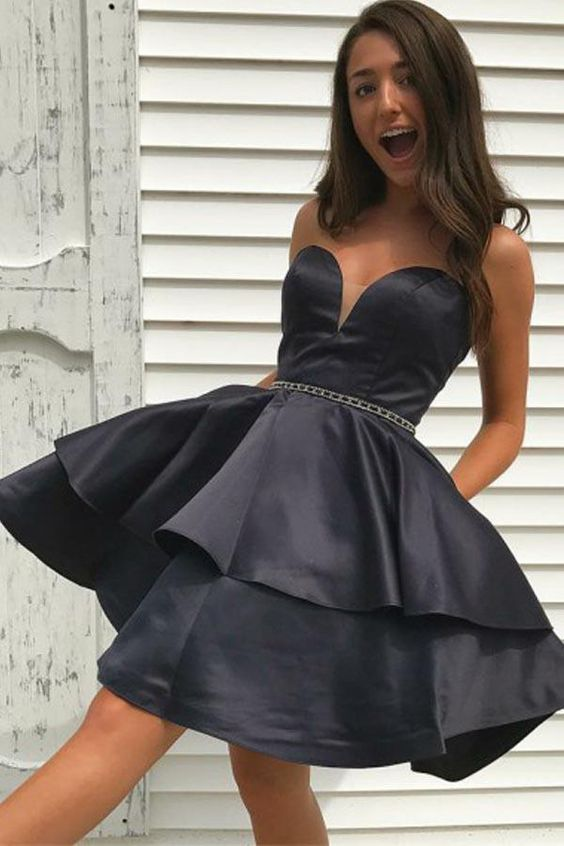 sweetheart-black-satin-homecoming-dress-with-beaded-belt