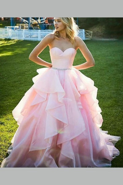 sweetheart-pink-prom-ball-gown-with-ruffles-organza-skirt