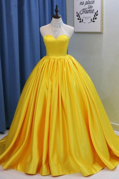 sweetheart-yellow-prom-ball-gown-with-satin-skirt