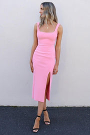 tea-length-satin-pink-prom-party-dress-with-square-neck