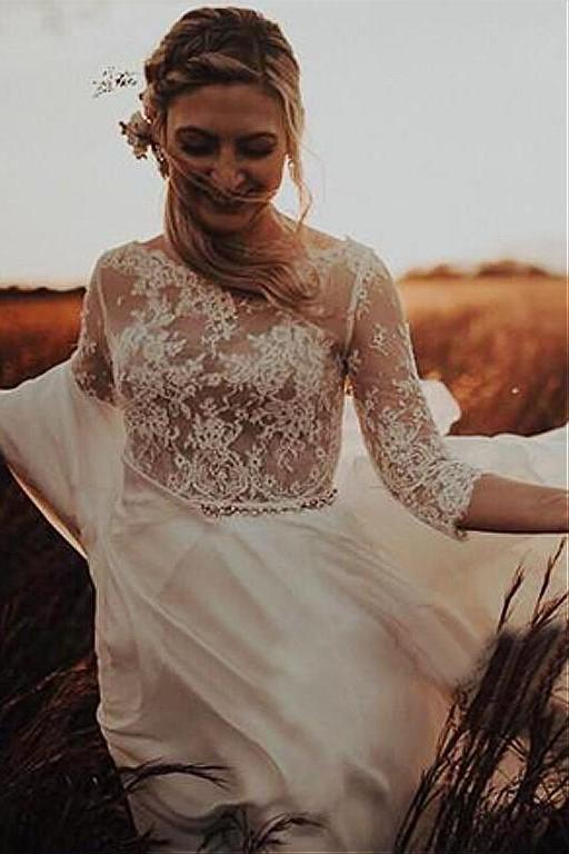 three-quarter-sleeves-outdoor-wedding-dress-illusion-lace-chiffon-skirt-1