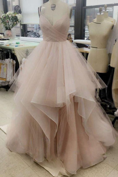tulle-blush-pink-wedding-dress-with-spaghetti-straps