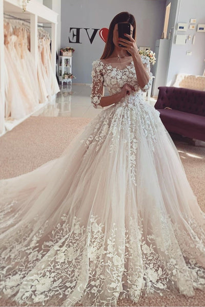tulle-floral-lace-bride-dresses-with-elbow-sleeves