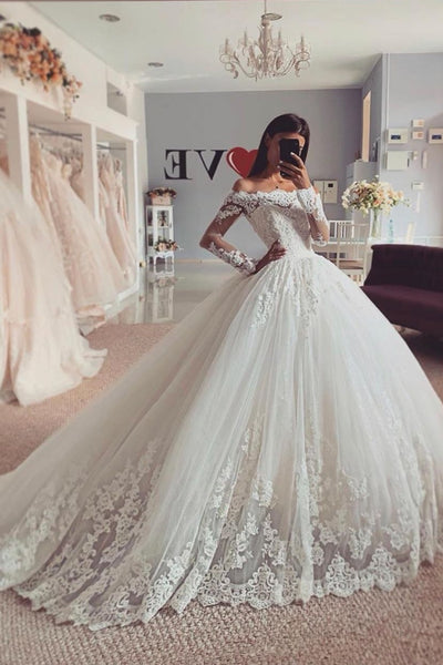 tulle-off-the-shoulder-full-sleeves-wedding-gown-lace
