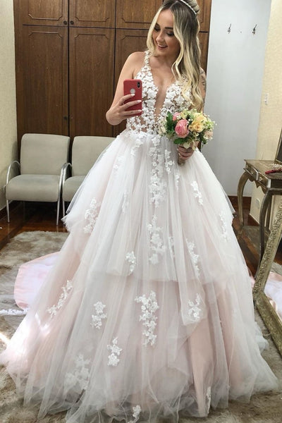 Two Layers Tulle Skirt Wedding Gowns with Lace V-neckline
