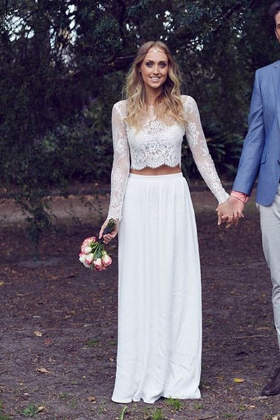 two-piece-lace-chiffon-boho-bride-dresses-with-full-sleeve