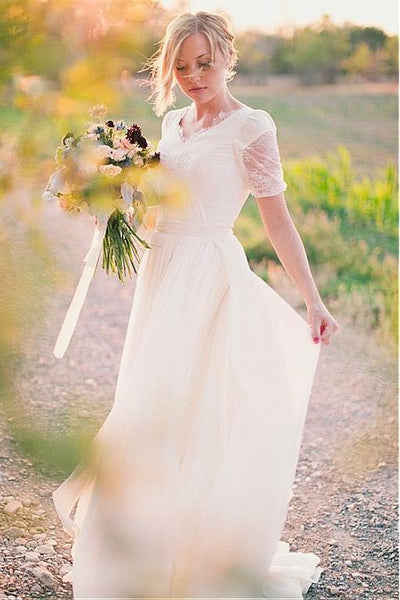 v-neck-lace-chiffon-boho-wedding-dress-short-sleeves