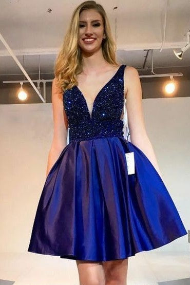 v-neckline-beads-royal-blue-homecoming-dress-for-sale