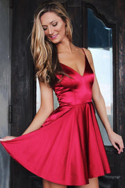 V-neckline Burgundy Short Party Dress for Homecoming