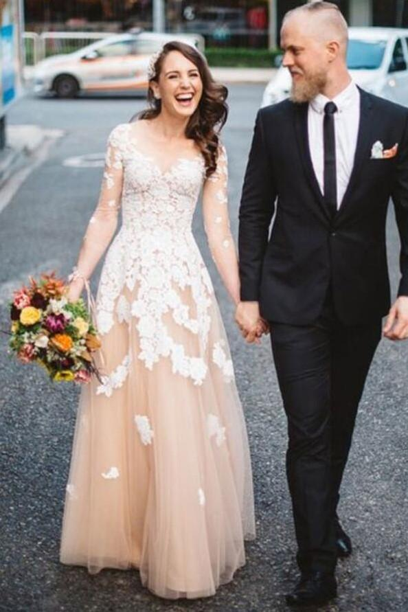 v-neckline-lace-champagne-wedding-gown-with-illusion-long-sleeves-1