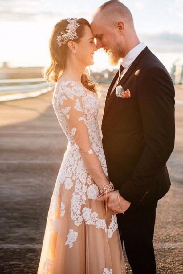 v-neckline-lace-champagne-wedding-gown-with-illusion-long-sleeves-2
