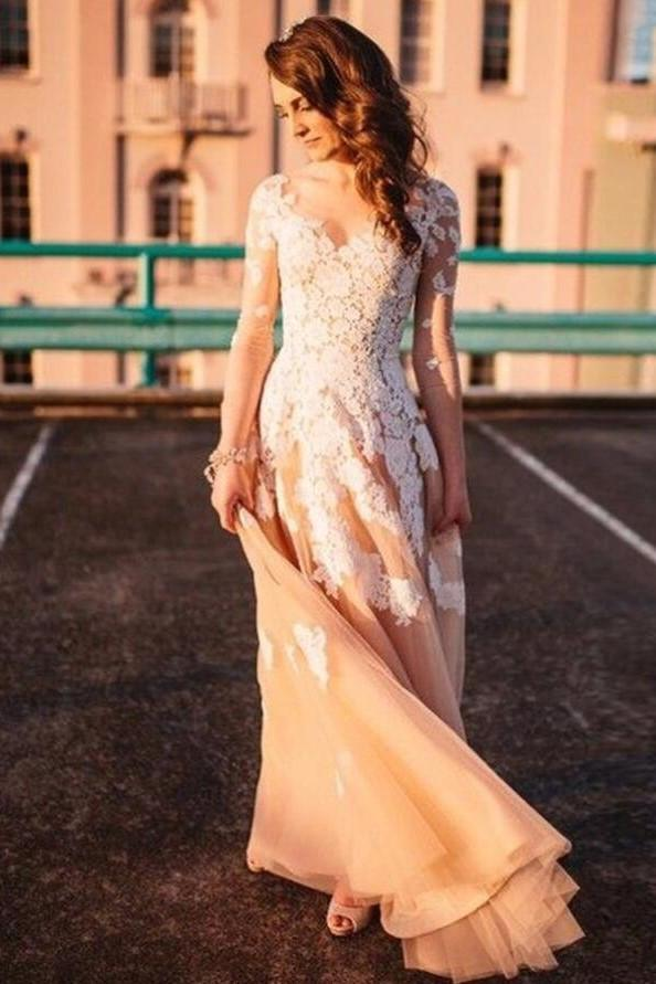 v-neckline-lace-champagne-wedding-gown-with-illusion-long-sleeves