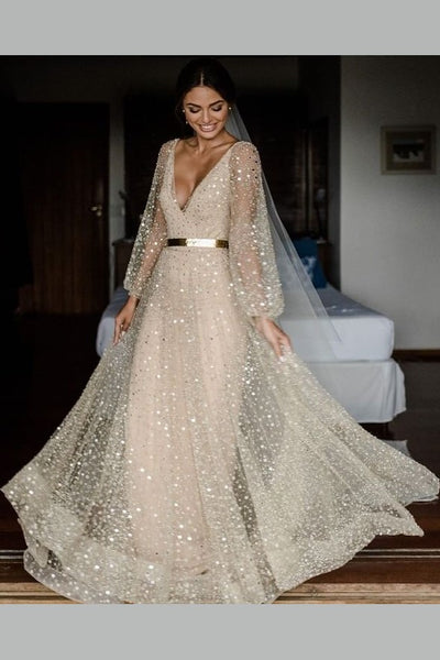 v-neckline-sequin-wedding-dresses-loose-long-sleeves