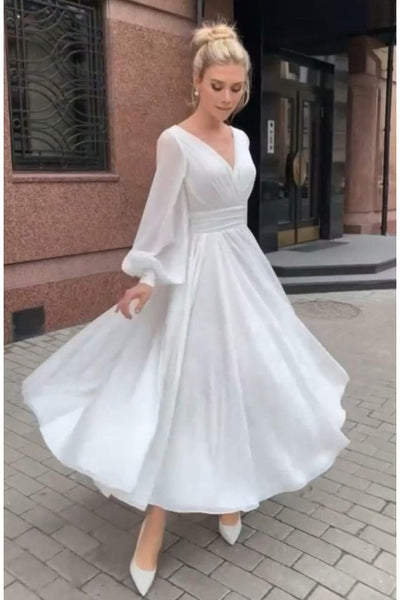 v-neckline-summer-chiffon-bridal-dresses-long-sleeves