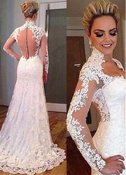 vintage-lace-wedding-dress-with-sheer-long-sleeves